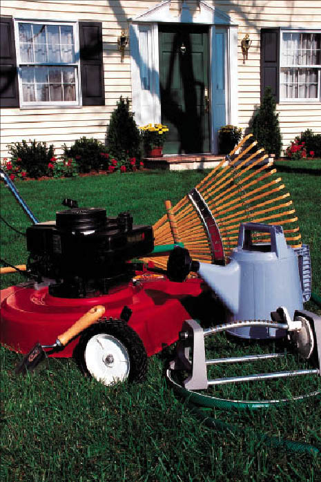 Lawn and garden tools, mowers, rakes, sprinklers & more