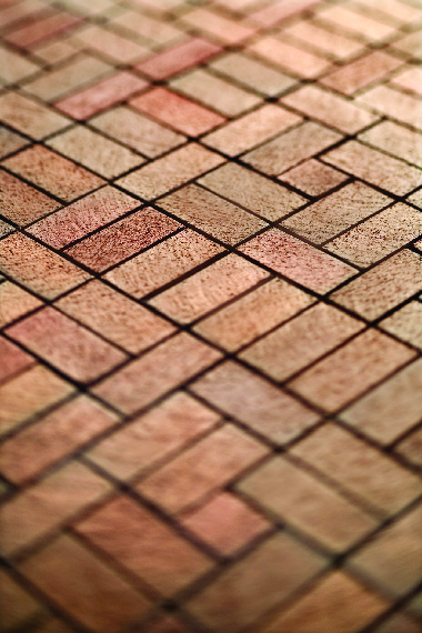 Paved red  brick patio.