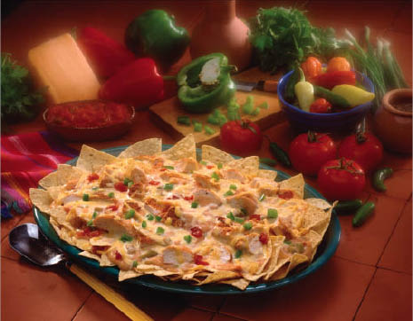 A local favorite - California Nachos with green peppers, tomatoes and cheese