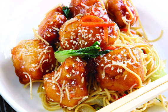 Honey garlic chicken Chinese buffet food