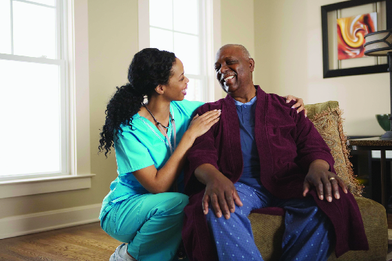 Senior in-home living with caregiver