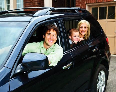 family in mini van