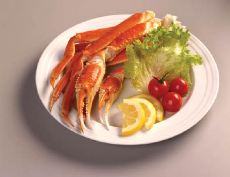 Crab claws with fresh veggies