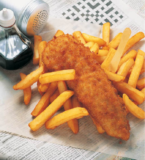 Fried cat fish fillets and french fries