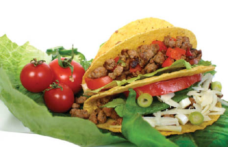 Hard shell homemade beef tortillas with all fresh ingredients