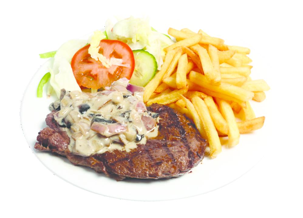 steak & fries at BarCode in Orange, CT