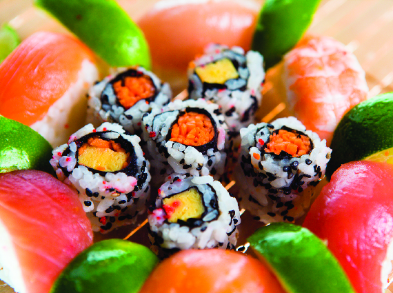 Handmade sushi rolls are made-to-order and beautifully-plated
