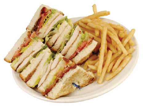 Overstuffed BLT Club sandwich and fries