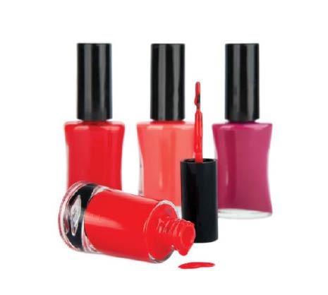 purple, pink & red nail polish