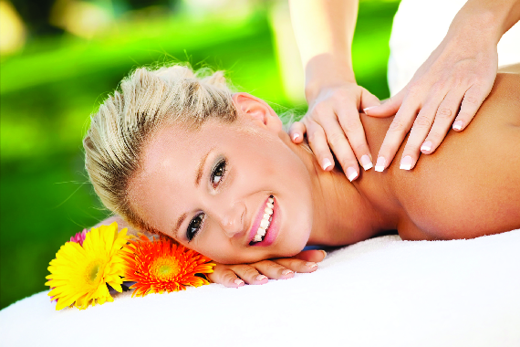 relaxed woman getting a swedish massage