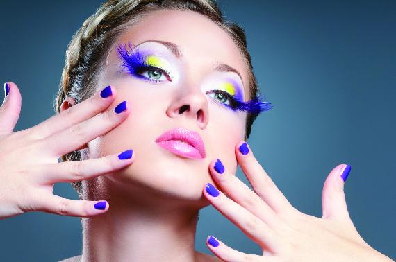 Nail and eye makeup to match