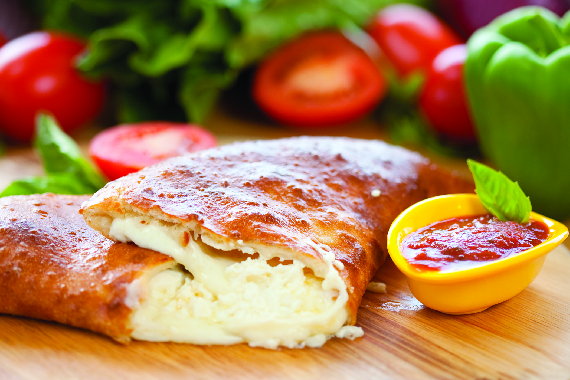 Overstuffed Italian calzone - a customer favorite