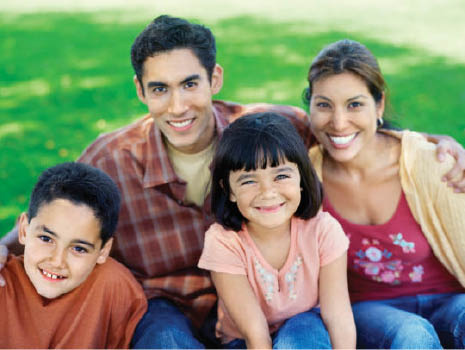 Full service dental practice, including Orthodontics, crowns, dental implants, cosmetics, oral surgery, periodontics, emergency care, sleep dentistry, Invisalign. Call for your Comprehensive exam, here is photo of a family smiling.