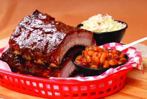 Try The Pit BBQ ribs, cole slaw and baked beans
