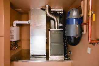Heating and cooling service includes home air conditioning unit and furnace
