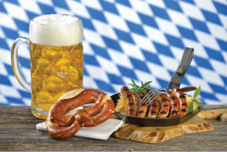 Oktoberfest menu items: brats, beer, and pretzels.