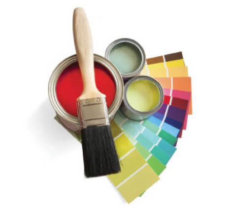 Schielein Painting in Cotati, CA paint swatches, paint cans, and brush