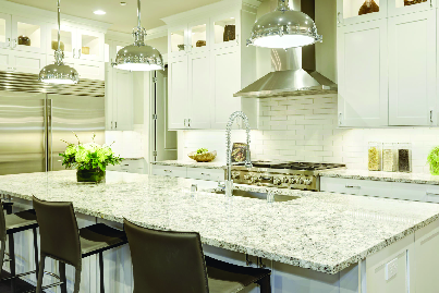 bright white kitchen that is sparking clean