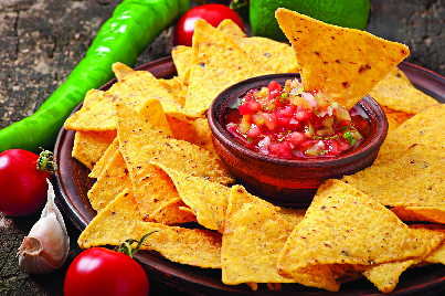 Chips and piquant salsa