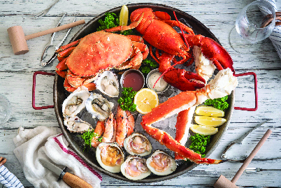 Seafood plater - clams, oysters, crab, lobster crab legs