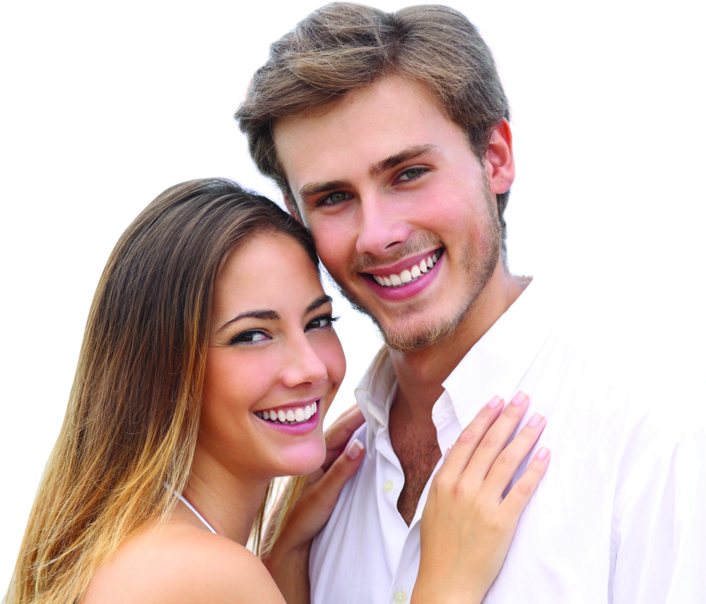 young couple with white teeth