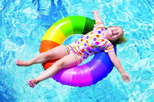 Child floating on inner tuber