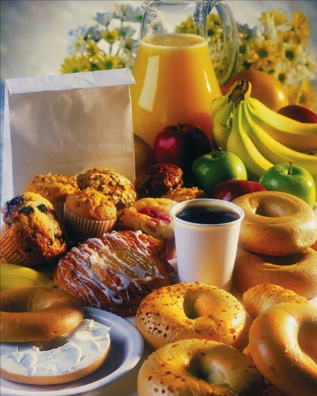 coffee, bagels, breakfast