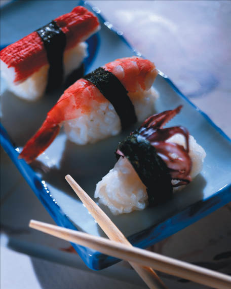 Fresh sushi and a bottle of sake will complete a memorable experience