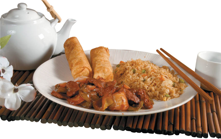 Chinese lunch buffet with fried rice, pork and eggrolls