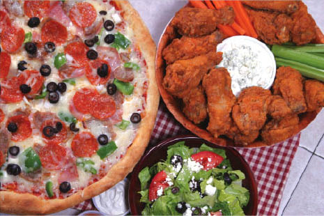 wings, pizza, salads, dinner, lunch
