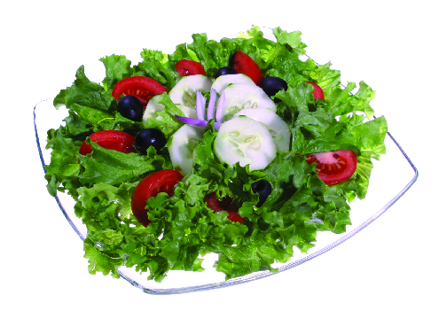 Crispy green garden salads and homemade dressing of your choice