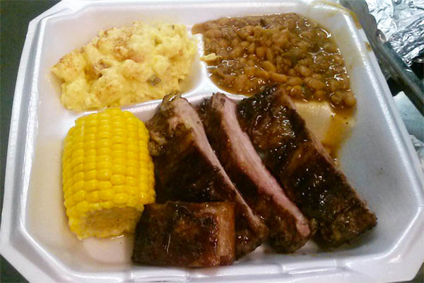 ribs, beans & corn from PTs Fried Chicken n More