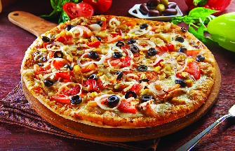 Paesanos Pizza with olives, onions, peppers and more