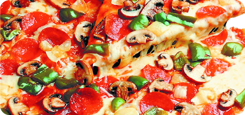 Pepperoni pizza with green olives. mushrooms and green peppers