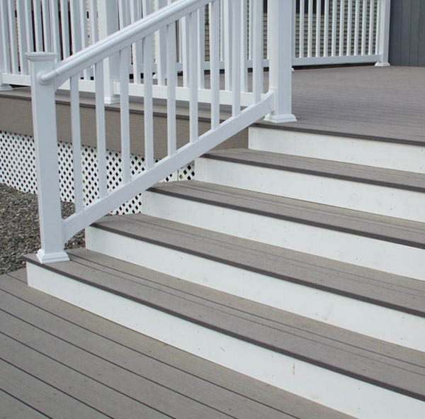Painted outdoor stair railing and steps