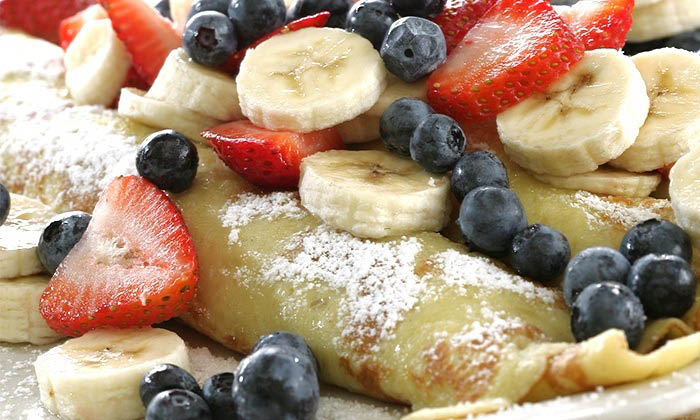 Feast on crepes with fresh fruit in South Florida.