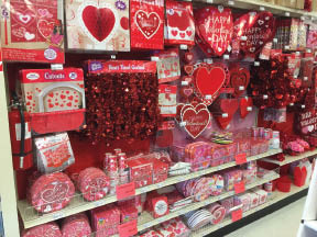 Valentine's Day decorations at Party Fair in Chester NJ