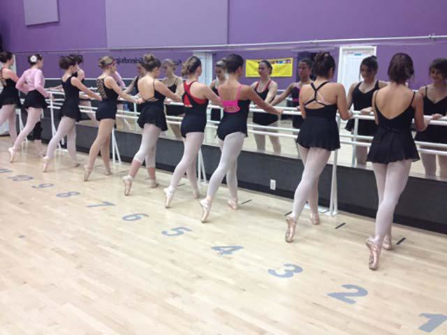 Ballet class at the Dance Connection in Patti's All American gym.