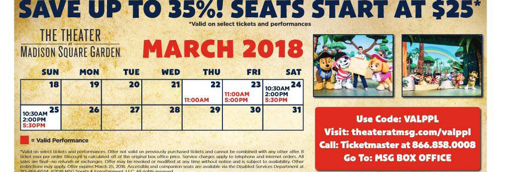 Paw Patrol Live March schedule at MSG in New York City