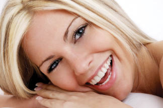 Happy woman with white smile
