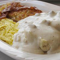 Breakfast served all day! Pegah's Biscuits and Gravy, 2 eggs, hasbrowns, bacon or sausage