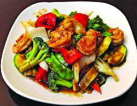 Delicious shrimp stir fry and Chinese mixed veggies
