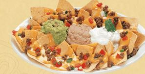 Mexican Restaurant Nachos with guacamole and refried beans, salsa, pico de gallo and toppings