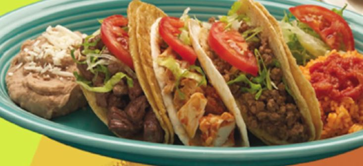 Pork, beef, chicken tacos with Mexican rice and beans for lunch special