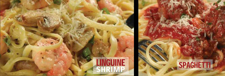 Shrimp linguini & spaghetti and meatballs
