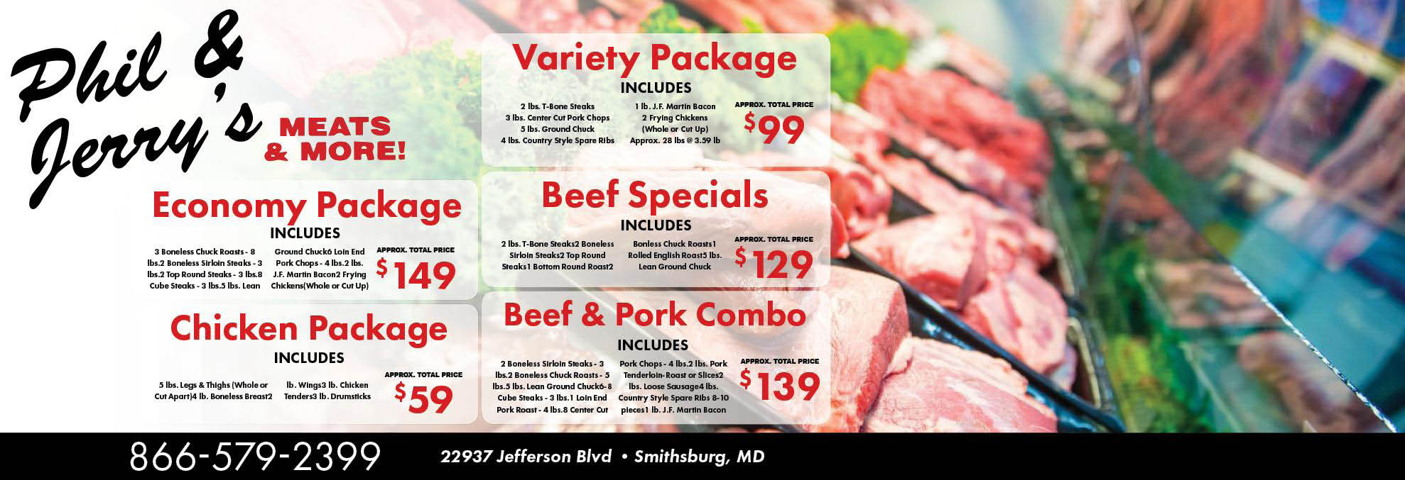 Phil & Jerry's Meats & More Logo, Meats, Deli