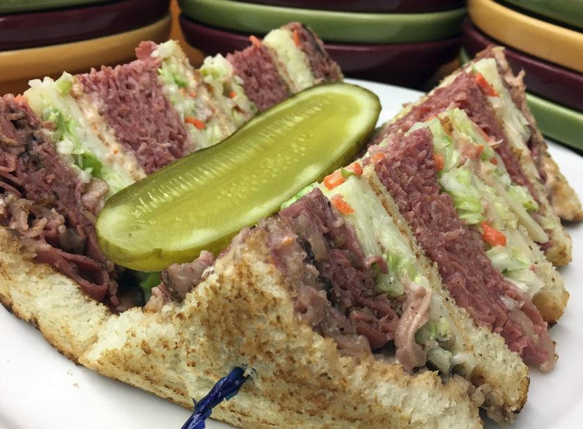 photo of corned beef sandwich from Pickles & Rye Deli in West Bloomfield Twp, MI