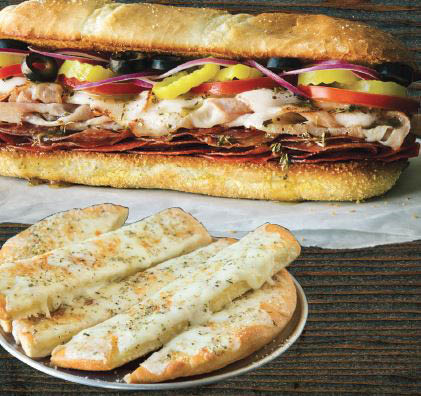 bread sticks, sandwiches, pizza