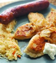 Pierogies and kielbasa plate