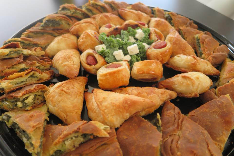 Assorted Greek Food on catering tray customized for your next event